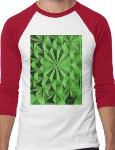 Green fractals pattern, tiled Men's Baseball ¾ T-Shirt