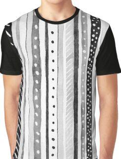 Black and White Dotty Stripe Graphic Pop Modern Polka Dot Graphic T-Shirt