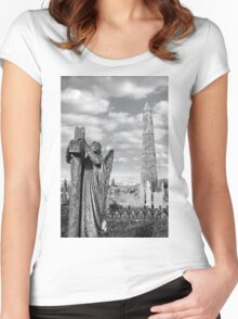 Archangel gravestone and Ancient round tower Women's Fitted Scoop T-Shirt
