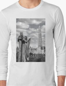 Archangel gravestone and Ancient round tower Long Sleeve T-Shirt
