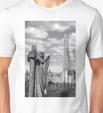 Archangel gravestone and Ancient round tower Unisex T-Shirt