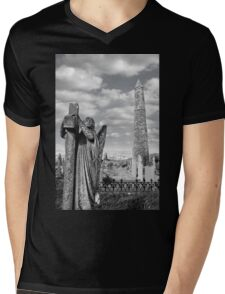 Archangel gravestone and Ancient round tower Mens V-Neck T-Shirt