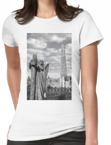 Archangel gravestone and Ancient round tower Womens Fitted T-Shirt