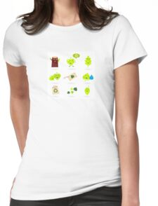 Leaf characters and nature icons isolated on white background ( green ) Womens Fitted T-Shirt
