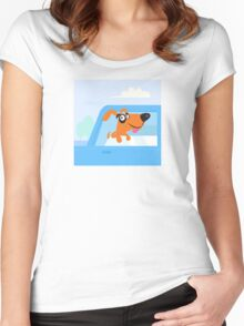 Happy brown and black dog travelling in blue car Women's Fitted Scoop T-Shirt