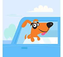 Happy brown and black dog travelling in blue car Photographic Print