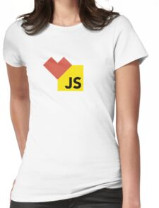 I love Javascript on white Womens Fitted T-Shirt