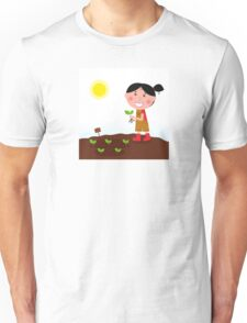 Gardening girl in red boots with green plant Unisex T-Shirt