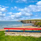 Ballybunion bench beach and castle view by morrbyte