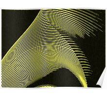 Yellow waves, line art, curves, abstract pattern 2 Poster