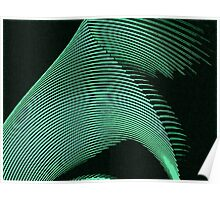 Green waves, line art, curves, abstract pattern Poster