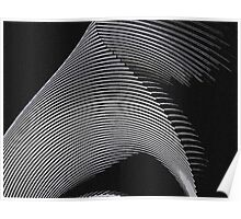 Gray waves, line art, curves, abstract pattern 2 Poster