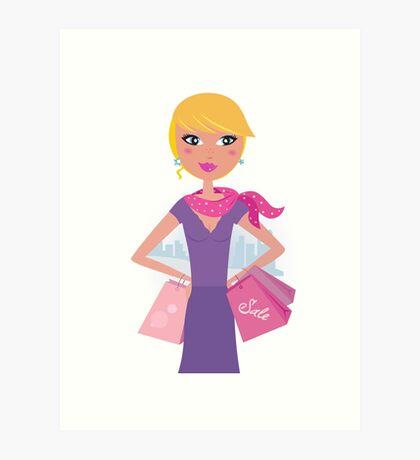 Happy blond woman on shopping in the city Art Print