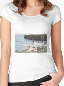 beach view with two dogs Women's Fitted Scoop T-Shirt
