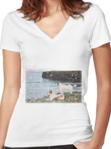 beach view with two dogs Women's Fitted V-Neck T-Shirt