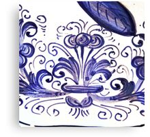 Porcelain Flower Decoration in Blue Canvas Print