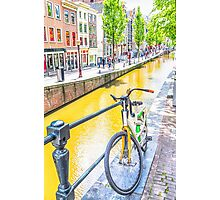 Bicycle and canal in Amsterdam Photographic Print