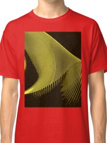 Yellow waves, line art, curves, abstract pattern Classic T-Shirt