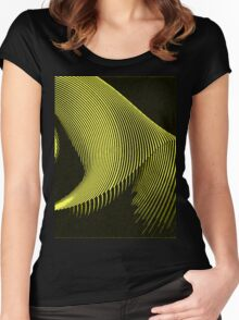 Yellow waves, line art, curves, abstract pattern Women's Fitted Scoop T-Shirt