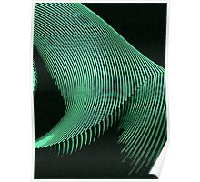 Green waves, line art, curves, abstract pattern 2 Poster