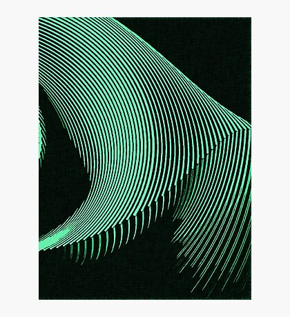 Green waves, line art, curves, abstract pattern 2 Photographic Print