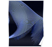 Blue waves, line art, curves, abstract pattern 2 Poster