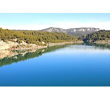Mountain landscape with blue river, in Provence, France Photographic Print