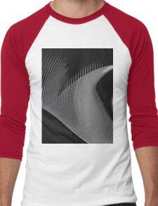 Gray waves, line art, curves, abstract pattern Men's Baseball ¾ T-Shirt