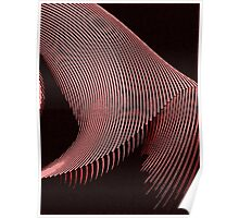 Red waves, line art, curves, abstract pattern 2 Poster