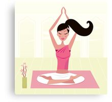 Meditating woman practicing yoga asana in exotic interior Canvas Print