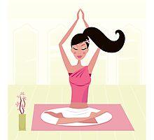 Meditating woman practicing yoga asana in exotic interior Photographic Print