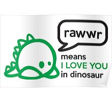 RAWWR - means I love you in dinosaur Poster
