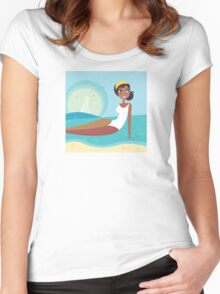 Cute stylized beach girl : Girlie - Girl according 60 years Women's Fitted Scoop T-Shirt