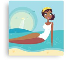 Cute stylized beach girl : Girlie - Girl according 60 years Canvas Print