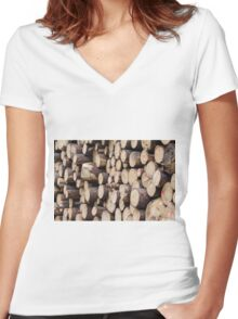 tree trunk Women's Fitted V-Neck T-Shirt