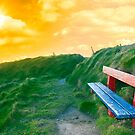 bench on a cliff edge at sunset by morrbyte