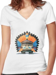 Illustration of an American Indian in the wild west Women's Fitted V-Neck T-Shirt