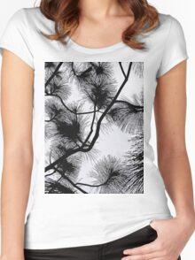 Desert flora, abstract pattern, floral design, black and white Women's Fitted Scoop T-Shirt