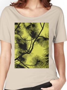 Desert flora, abstract pattern, floral design, black and yellow Women's Relaxed Fit T-Shirt