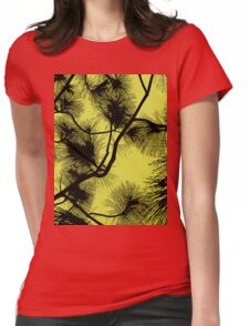 Desert flora, abstract pattern, floral design, black and yellow Womens Fitted T-Shirt