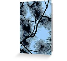 Desert flora, abstract pattern, floral design, black and light blue Greeting Card