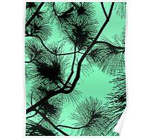 Desert flora, abstract pattern, floral design, black and light green Poster
