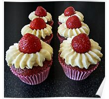 Six Strawberry Cupcakes Poster
