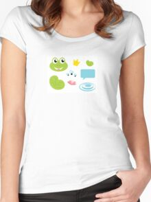 Fairy Frog cartoon icons and elements Women's Fitted Scoop T-Shirt