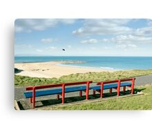 benches with views of Ballybunion beach and coast Canvas Print