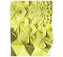 Yellow fractals pattern, geometric abstraction Poster