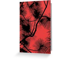 Desert flora, abstract pattern, floral design, black and red Greeting Card
