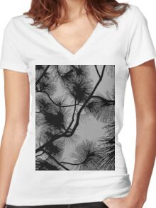 Desert flora, abstract pattern, floral design, black and gray Women's Fitted V-Neck T-Shirt
