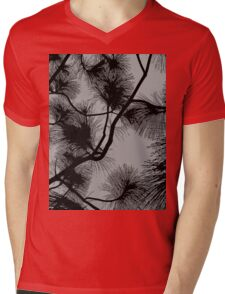Desert flora, abstract pattern, floral design, black and gray Mens V-Neck T-Shirt