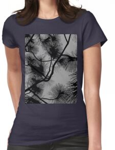 Desert flora, abstract pattern, floral design, black and gray Womens Fitted T-Shirt
